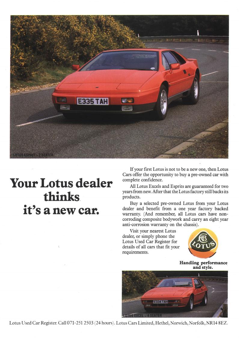 Lotus_Esprit_Turbo_X180_Ad, Lotus_Esprit_Classic_Sportcar.  Lotus_Esprit_1995, Lotus_Esprit_Federal_Advert_1986